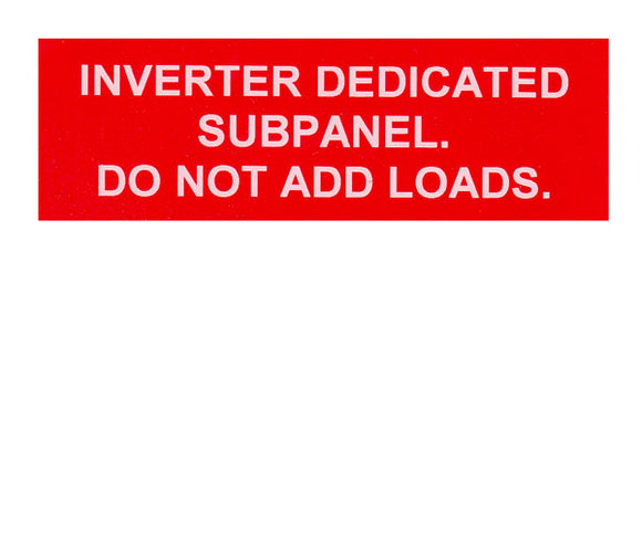 Inverter Dedicated Subpanel Vinyl Label<br>(UV materials)
