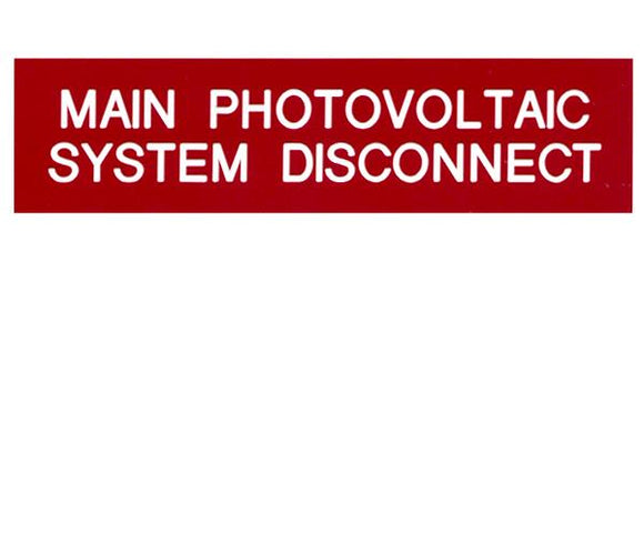 690.14(C) Main PV System Disconnect Engraved Label<br>(UV Acrylic)