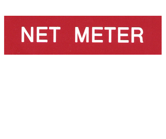 Net Meter Engraved Label<br>(UV Acrylic)