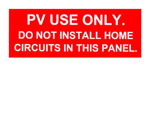 PV Use Only Engraved Label<br>(UV Acrylic)