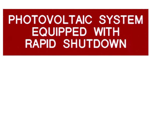 690.12 Rapid Shutdown Engraved Label<br>(UV Acrylic)