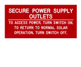 Secure Power Supply Engraved Label<br>(UV Acrylic)