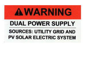 Warning Dual Power Sources Vinyl Label<br>(UV materials)