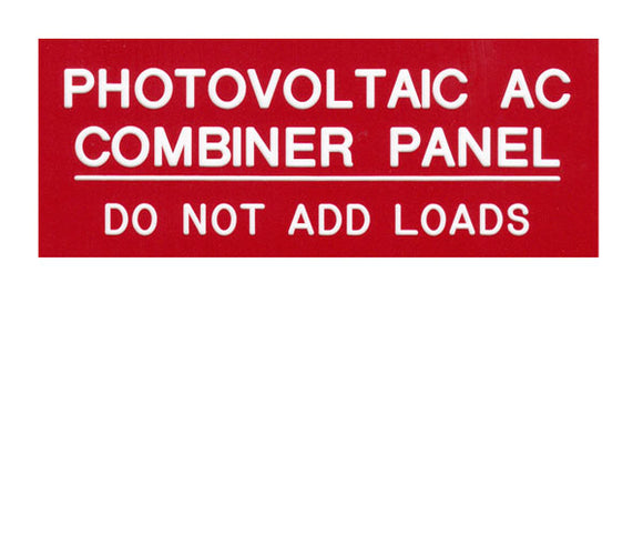PV AC Combiner Engraved Label<br>(UV Acrylic)