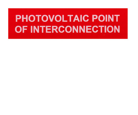 Photovoltaic Point of Interconnection Vinyl Label<br>(UV materials)