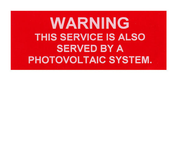 Warning Service Served by PV System Vinyl Label<br>(UV materials)