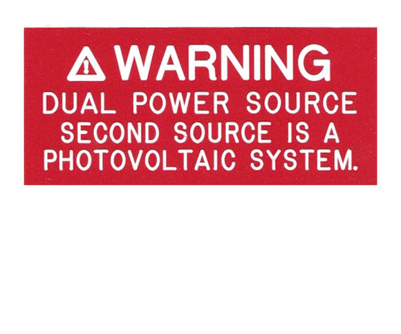 705.12(D)3 Dual Power Source V1 Engraved Label<br>(UV Acrylic)