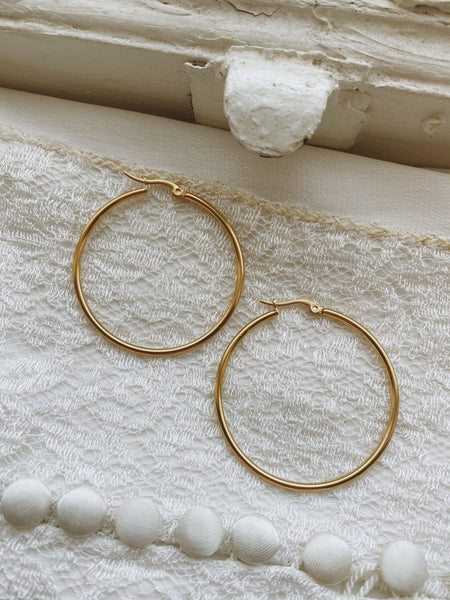 35mm Skinny Hoops- Gold Plated