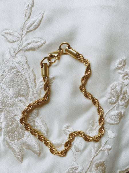 Edith Twisted Rope Bracelet - Gold Plated