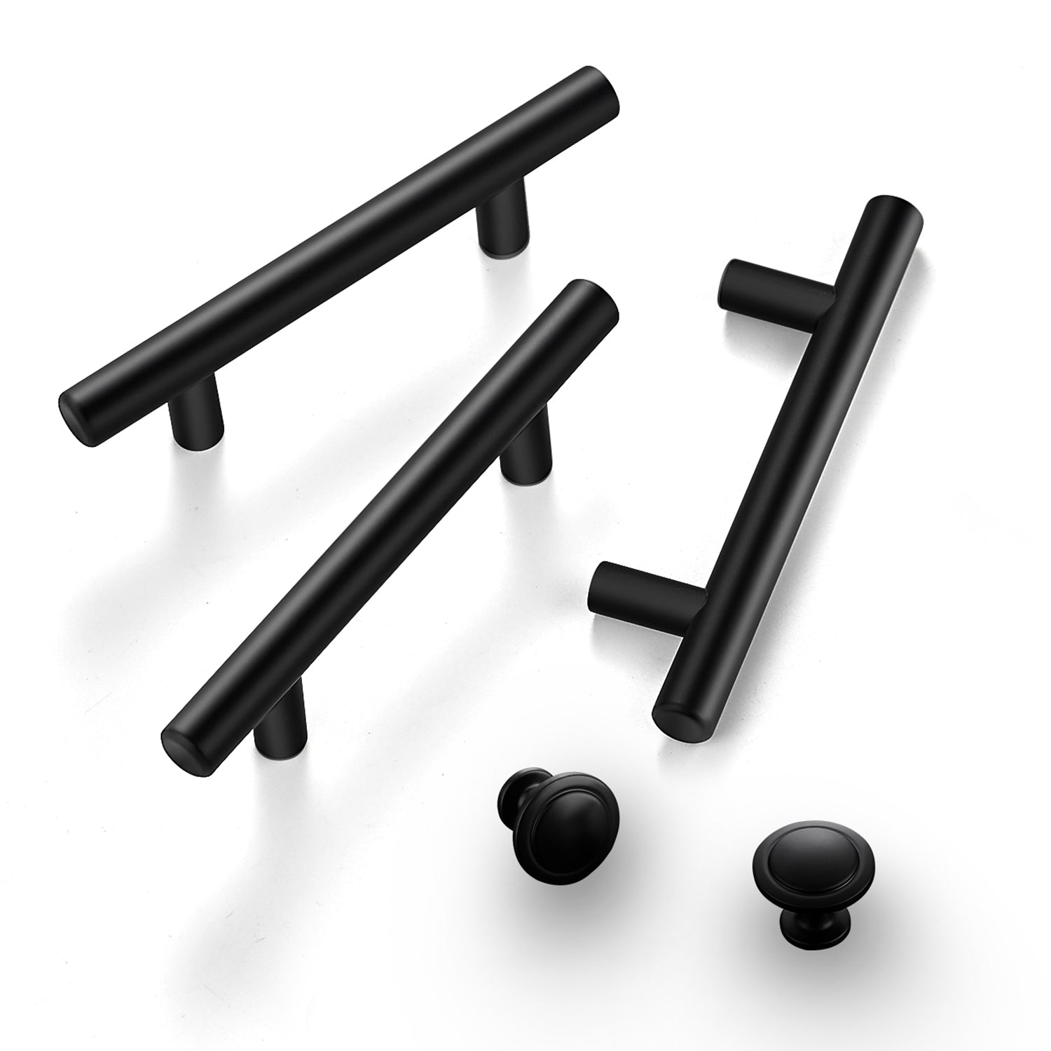 Ravinte 10 Pcs Handles+30Pcs Round Knobs Kitchen Cabinet Handles Matte Black Cabinet Pulls Black Drawer Pulls Kitchen Cabinet Hardware Kitchen Handles for Cabinets Cupboard Handles Drawer Handles