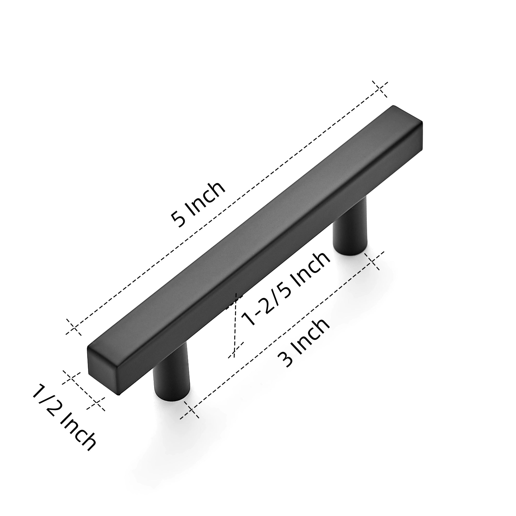 "Ravinte 5 inch Square Cabinet Pulls Matte Black Stainless Steel Kitchen Drawer Pulls Cabinet Handles 5""Length, 3"" Hole Center"