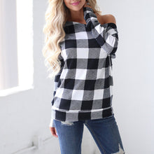 Women's Off The Shoulder Checkered Plaid Shirt