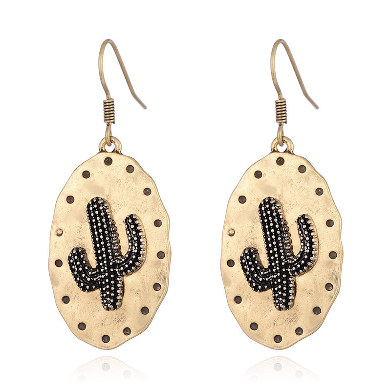 Desert Bronze Cactus Dangle Earrings