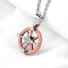 Stainless Steel Silver Copper Compass Necklace