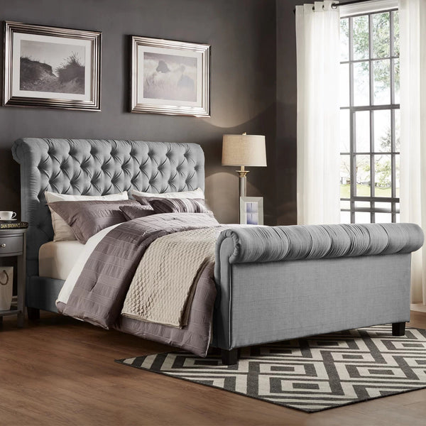 Plano Soft Silver Naple Chesterfield Sleigh Bed Frame