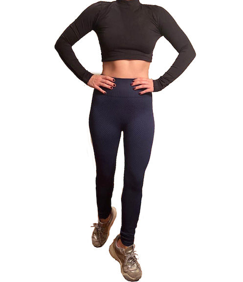 BLACK LONG SLEEVE & NAVY BLUE STRIPED  ACTIVEWEAR SET