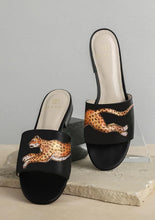 Load image into Gallery viewer, ALEPEL LEOPARD BLACK SLIDES PRE-ORDER