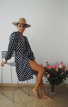 Load image into Gallery viewer, CRISANTO SHORT KIMONO BLUE AND WHITE POLKA DOTS