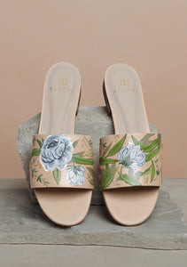 ALEPEL WHITE AND BLUE FLORAL SLIDES PRE-ORDER
