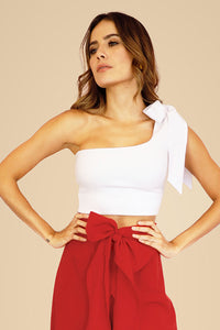 ONE SHOULDER WHITE BOW TOP