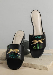 ALEPEL TROPICAL LEOPARD BLACK SLIDES PRE-ORDER