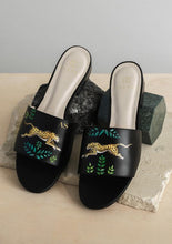 Load image into Gallery viewer, ALEPEL TROPICAL LEOPARD BLACK SLIDES PRE-ORDER