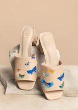 Load image into Gallery viewer, ALEPEL BUTTERFLIES NUDE BLOCK HEELS PRE-ORDER