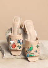 Load image into Gallery viewer, ALEPEL NUDE BIRD FLORAL BLOCK HEEL PRE-ORDER