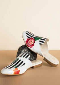 ALEPEL ROSE STRIPPED MULES PRE-ORDER