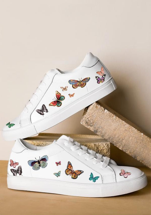 ALEPEL BUTTERFLIES WHITE SNEAKERS PRE-ORDER