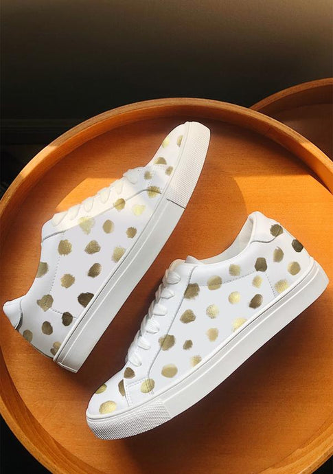 ALEPEL GOLD CHEETAH WHITE SNEAKERS PRE-ORDER