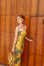 Load image into Gallery viewer, YELLOW GREEN STRAPLESS DRESS