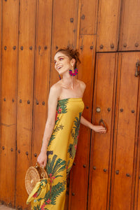 YELLOW GREEN STRAPLESS DRESS