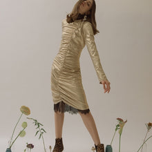 Load image into Gallery viewer, GOLD LONGSLEEVE DRESS