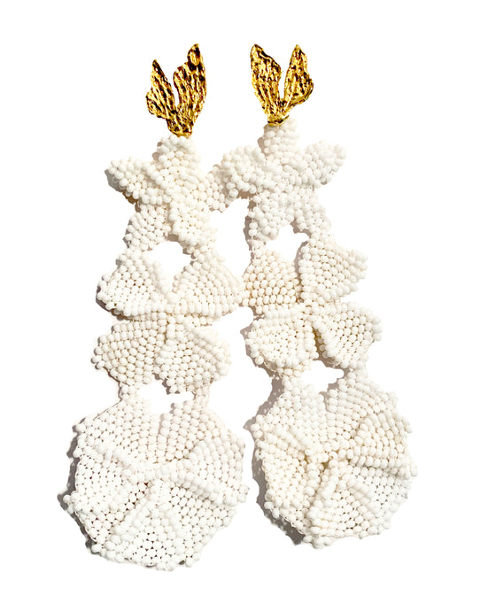 TRIPLE WHITE GARDEN EARRINGS JETLAGMODE X ENTRE SUEÑOS