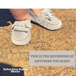 Rufus-Gray Suede Baby Moccasins