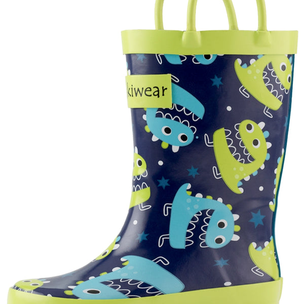 Oaki - Loop Handle Boots, Green/Blue Monsters