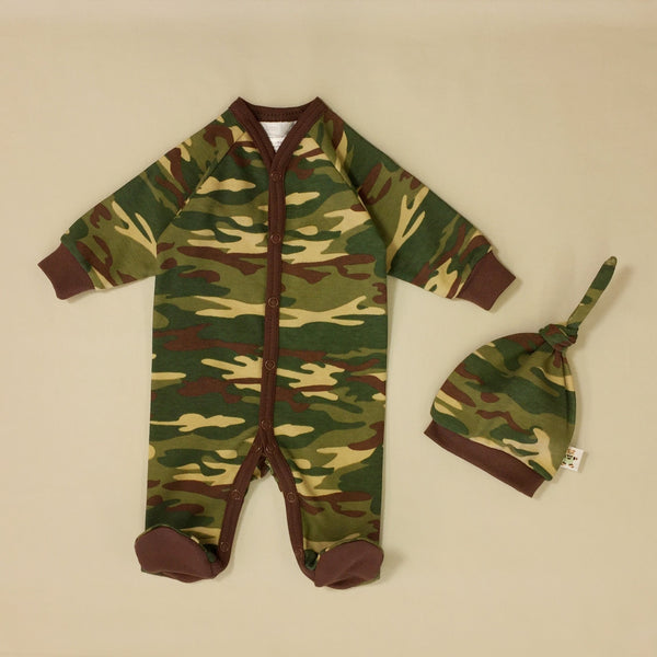 Camouflage Footie & Knot Top Set