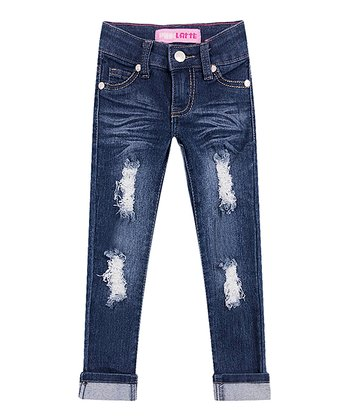 Girl's Skinny Jeans with Distressed and Wide Cuff - Indigo