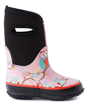 Oaki - Neoprene Boots, Perched Owls