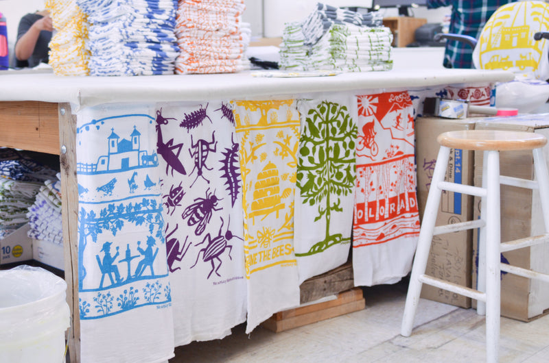 Kei and Molly Textiles, LLC. Hand-printed dish towels. 100% cotton natural screen-printed tea towels, textiles, and home goods. Albuquerque, New Mexico. Made in USA.