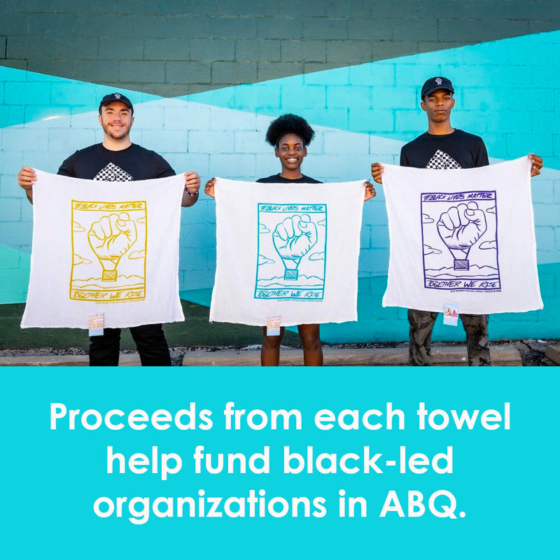 Kei & Molly Black Lives Matter Flour Sack Dish Towel Collection Held by Models