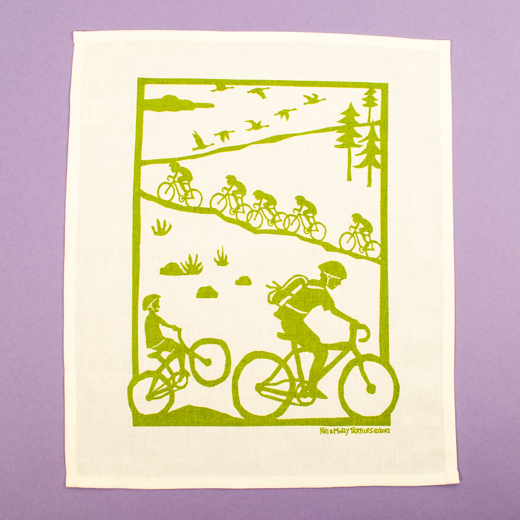Linen/Cotton Tea Towel: Bikes