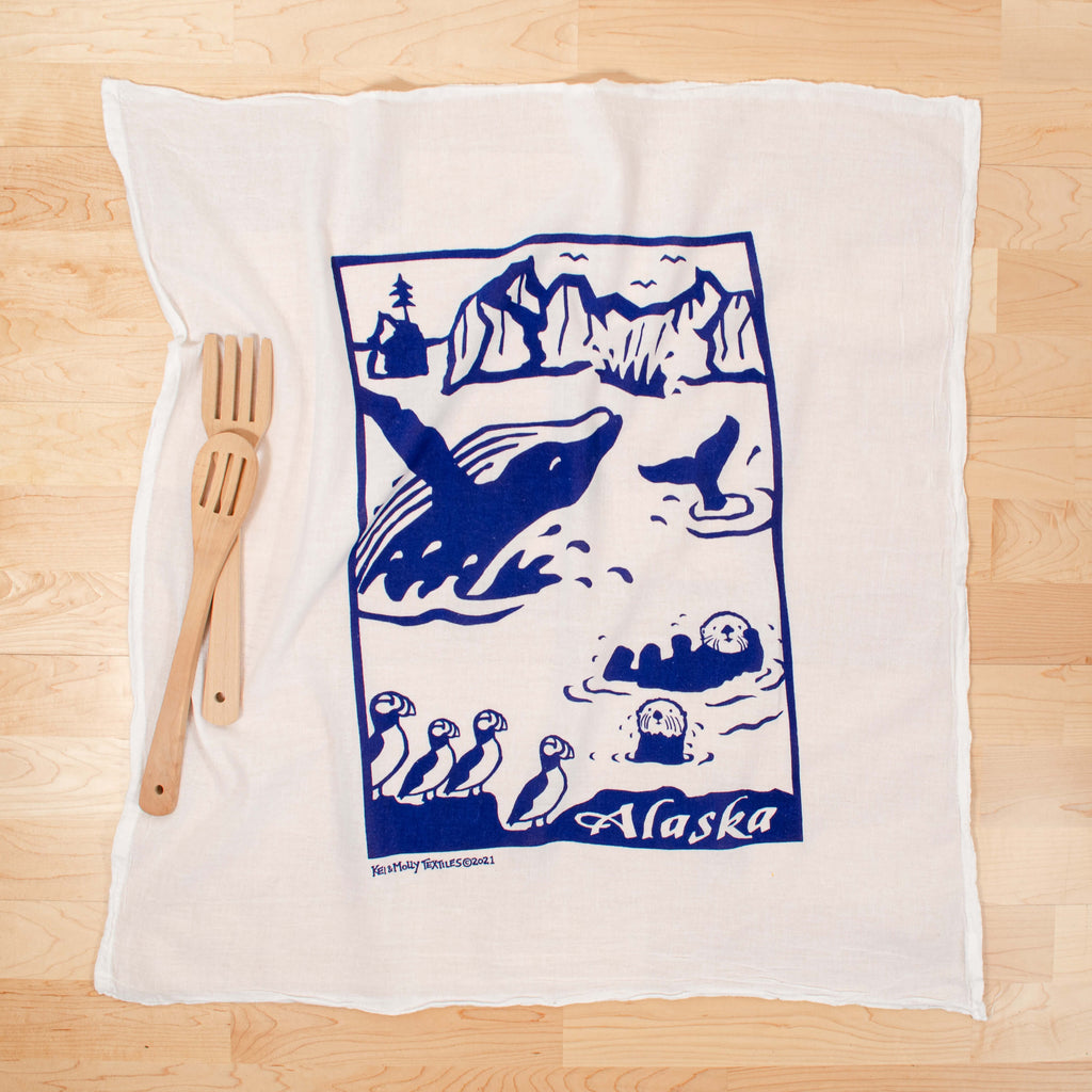 Kei & Molly Alaska Flour Sack Dish Towel in Navy with Props