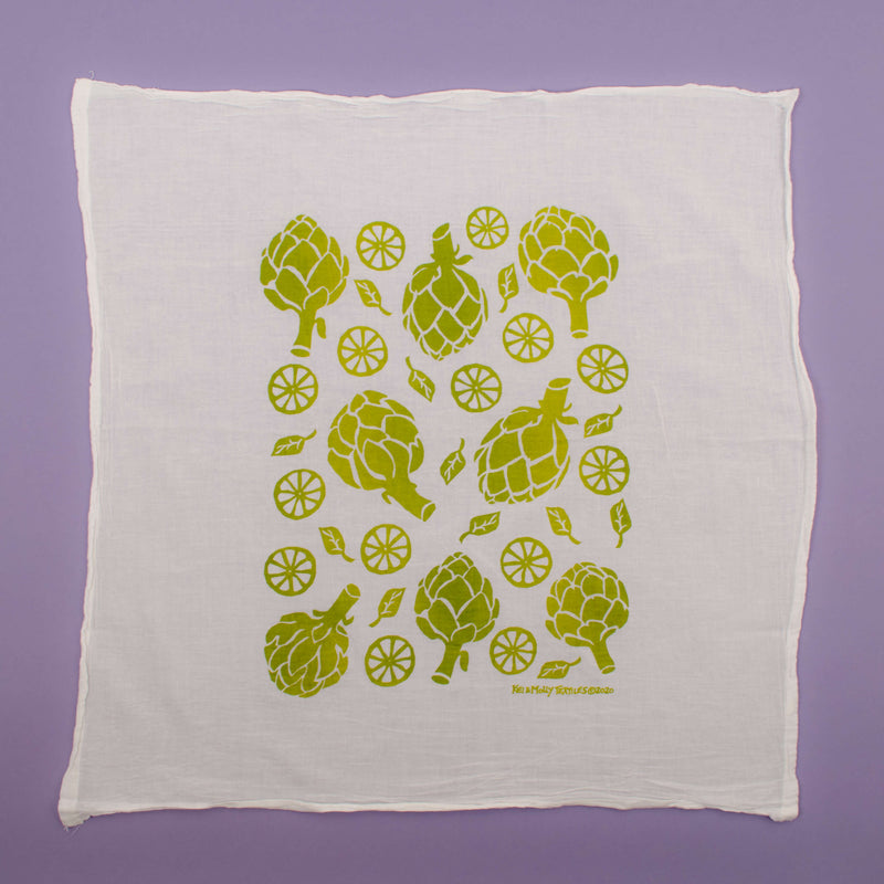 Kei & Molly Artichokes Flour Sack Dish Towel in Two Tone Green/Yellow Full View