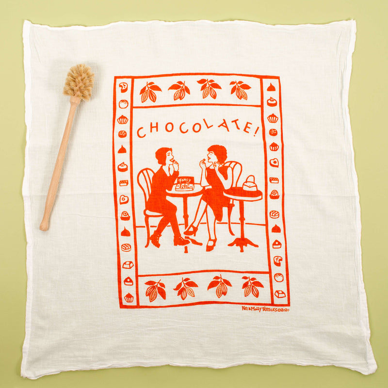 Kei & Molly Chocolate Flour Sack Dish Towel in Orange Full View