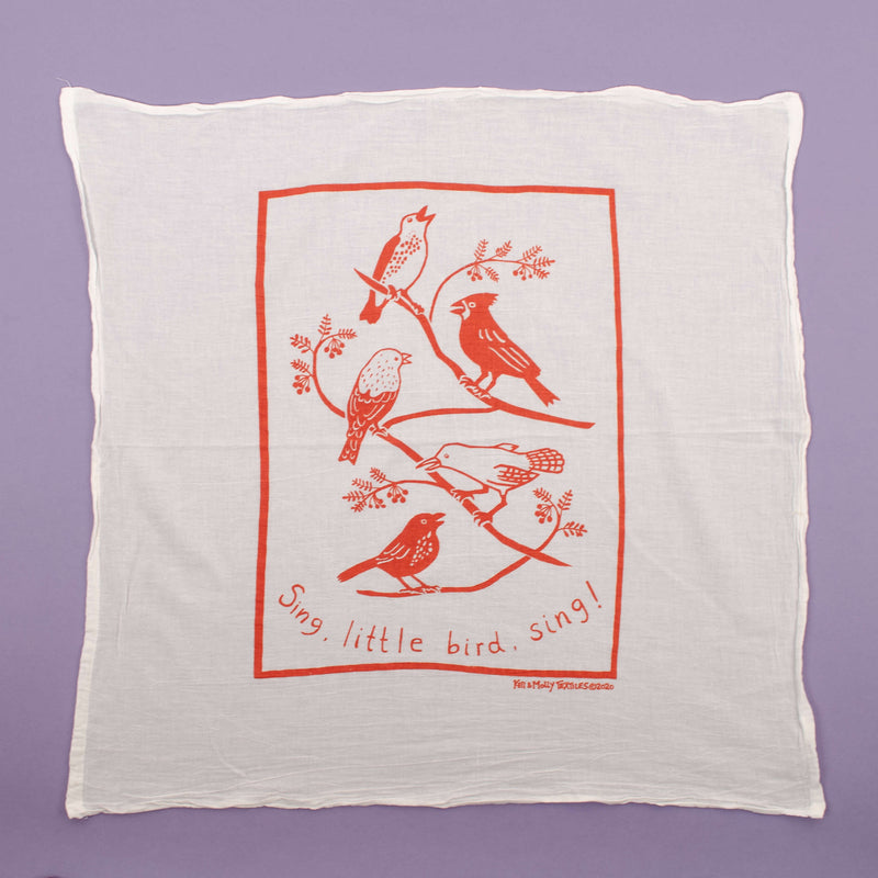 Kei & Molly Songbirds Flour Sack Dish Towel in Desert Coral Full View