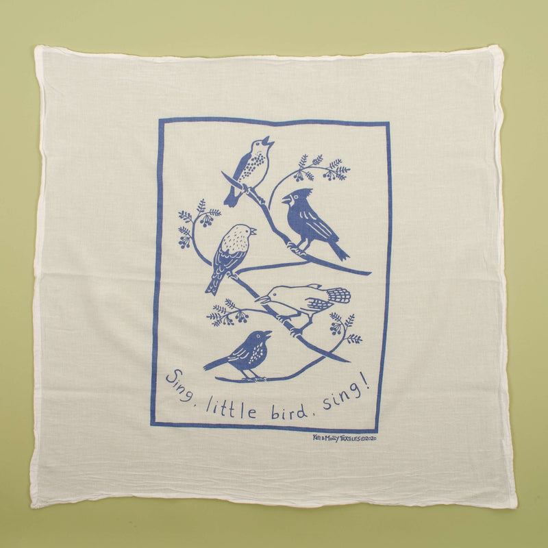 Kei & Molly Songbirds Flour Sack Dish Towel in Steel Blue Full View