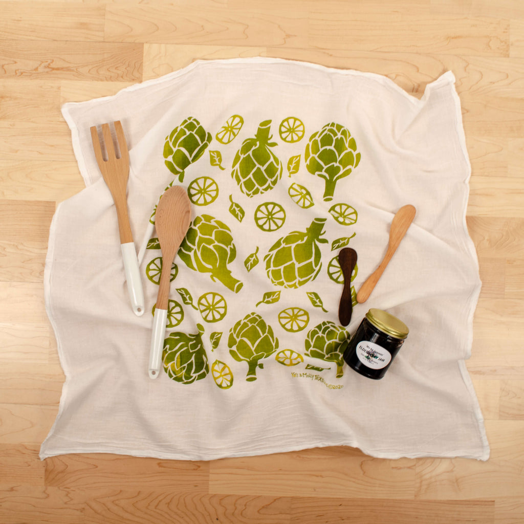 Kei & Molly Artichokes Flour Sack Dish Towel in Two Tone Green/Yellow with Props