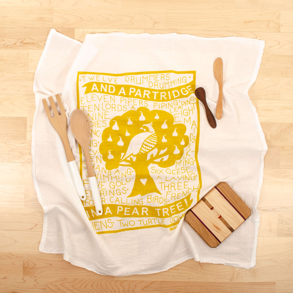 Kei & Molly Partridge Flour Sack Dish Towel in Gold with Props